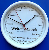 "Clockface with the following text: ""Writer's clock, write, write, toss, retrieve, start over, writer's block, adult beverage, write, submit, revise, revise, publish."""