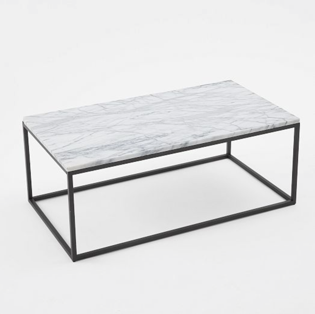 Dsk steph my dream discontinued west elm marble coffee for Stone topped coffee tables