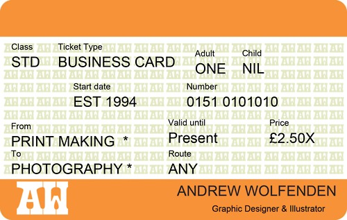 train ticket business card using my own logos and information