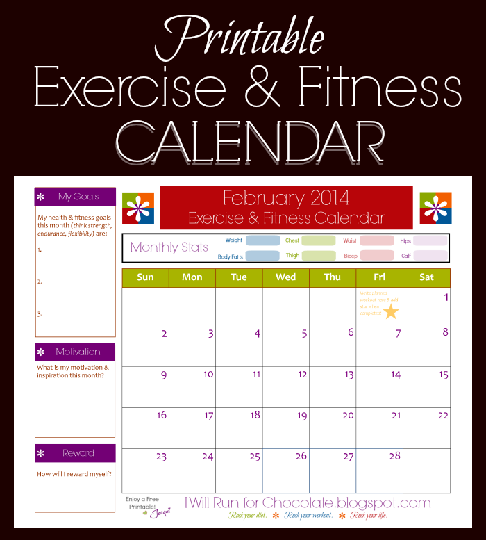 FREE Printable Exercise & Fitness Calendar for February! - Weigh to ...
