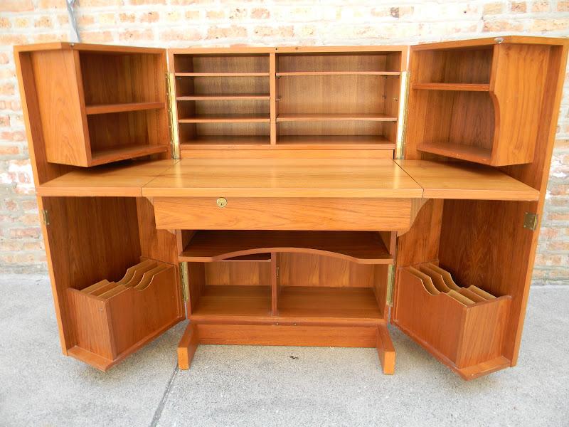 Danish Teak Fold Out Desk Gatyo Retro
