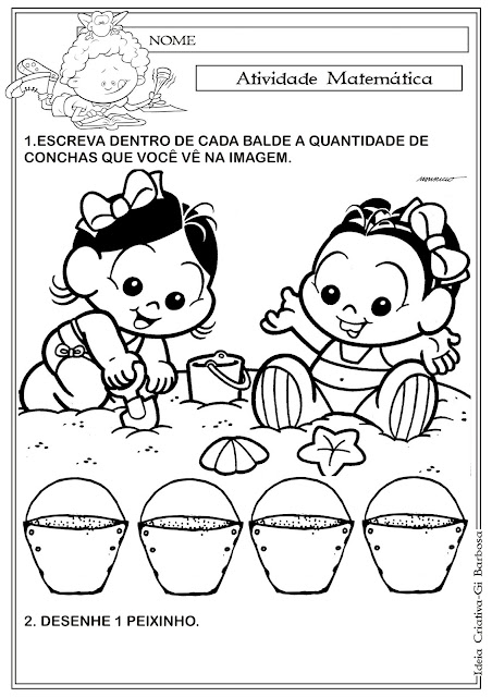 Atividade Matemática Turma da Mônica Baby