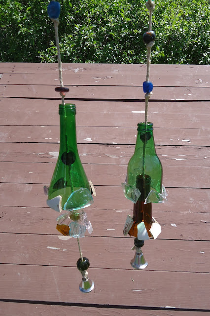 The art of up cycling upcycle ideas upcycle glass bottles for Glass bottle wind chimes