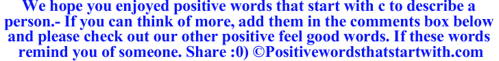 Image of Positive words that start with C to describe a person