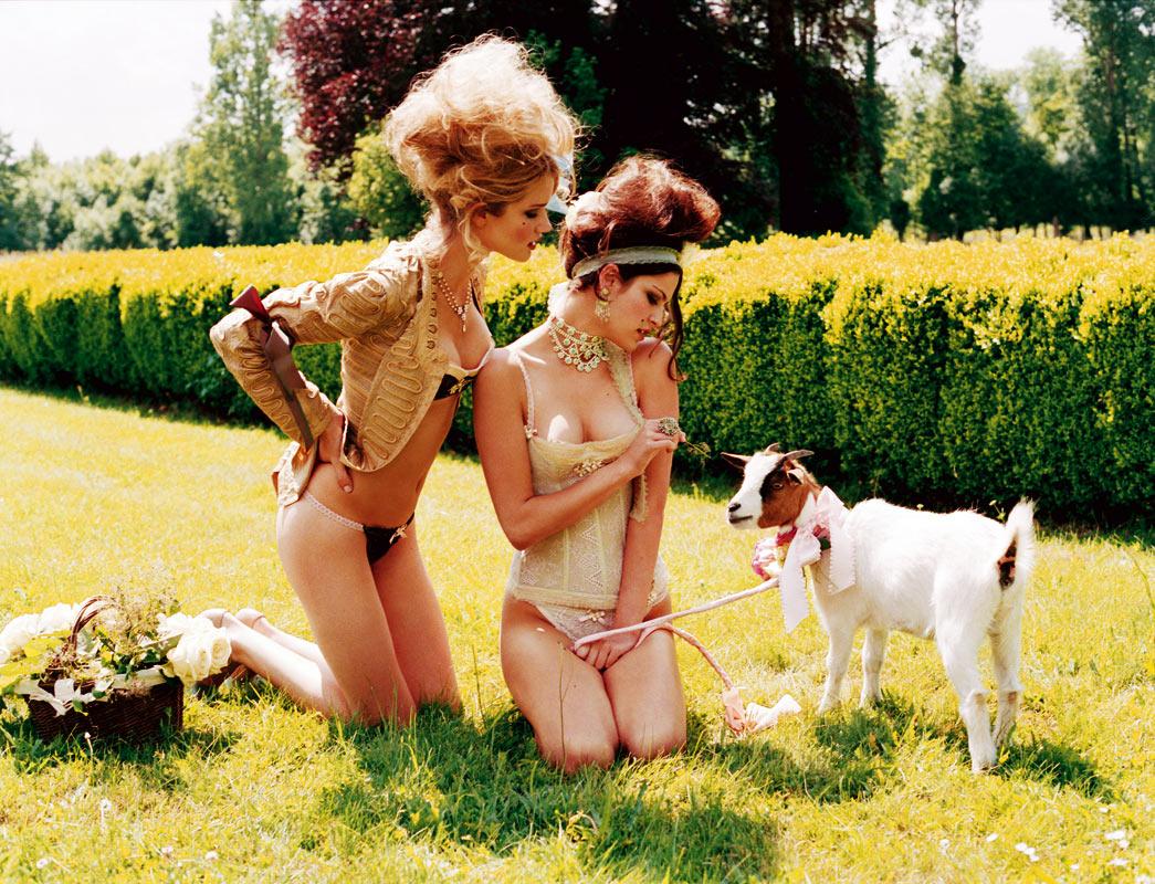 via fashioned by love | Chantal Thomass Spring/Summer 2006 (photography: Ellen von Unwerth) | lamb in fashion campaigns & editorials