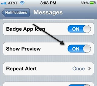 Hide Text Message Content