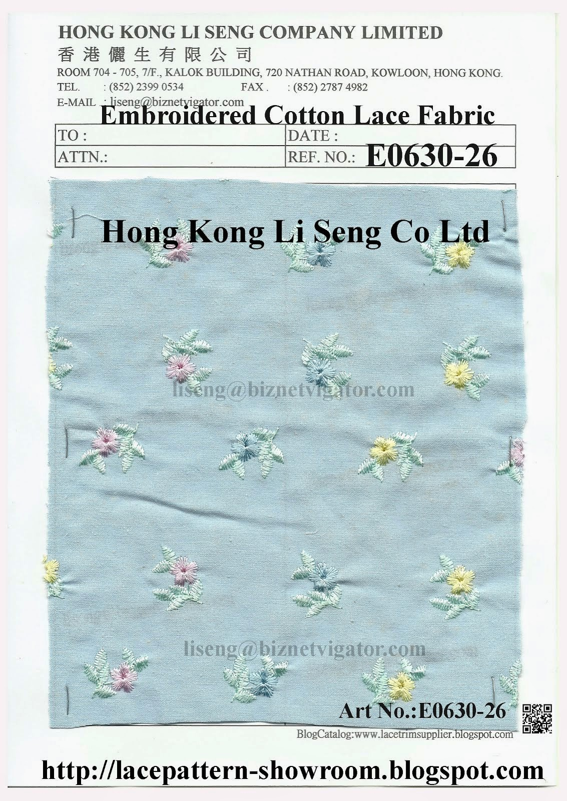New Embroidered Cotton Lace Fabric Manufacturer Wholesaler and Supplier - Hong Kong Li Seng Co Ltd