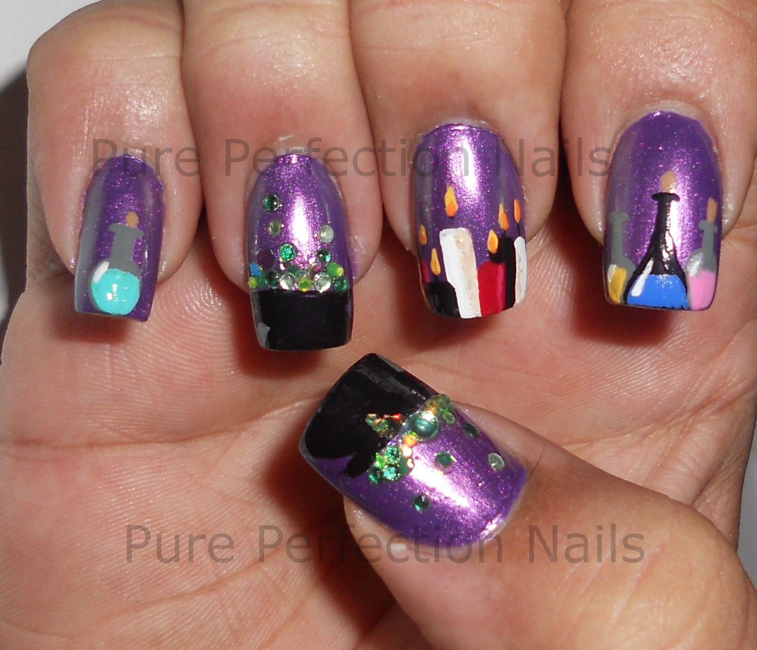 Pure Perfection Nails Double Double Purple Halloween Witch Nail Art