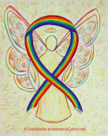 Rainbow Awareness Ribbon Guardian Angel Original Art Painting