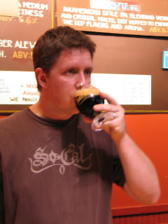 Red Brick Head Brewer, Garett Lockhart tasting Smoked Vanilla Gorilla