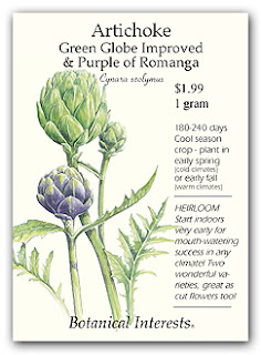Lots of vital info on this artichoke seed packet!