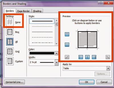 Cara Menghilangkan garis Border Tabel di Microsoft Word