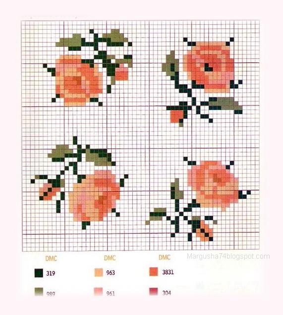 Схема для вышивки розы бисером