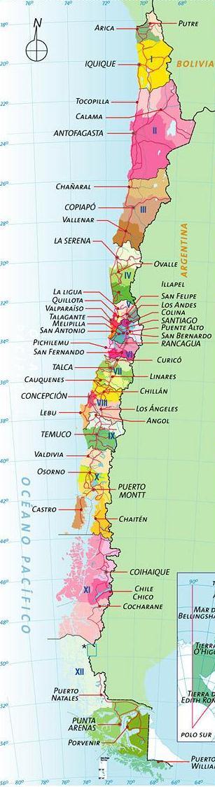 chile mapa politico