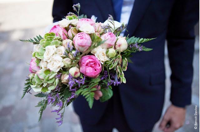 bouquet de fleurs de mariée rose vert violet inspiration