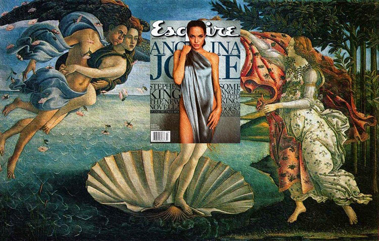 Modernas portadas de revistas superpuesto en pinturas clásicas