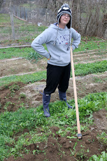 A hard at work digging another vegetable bed