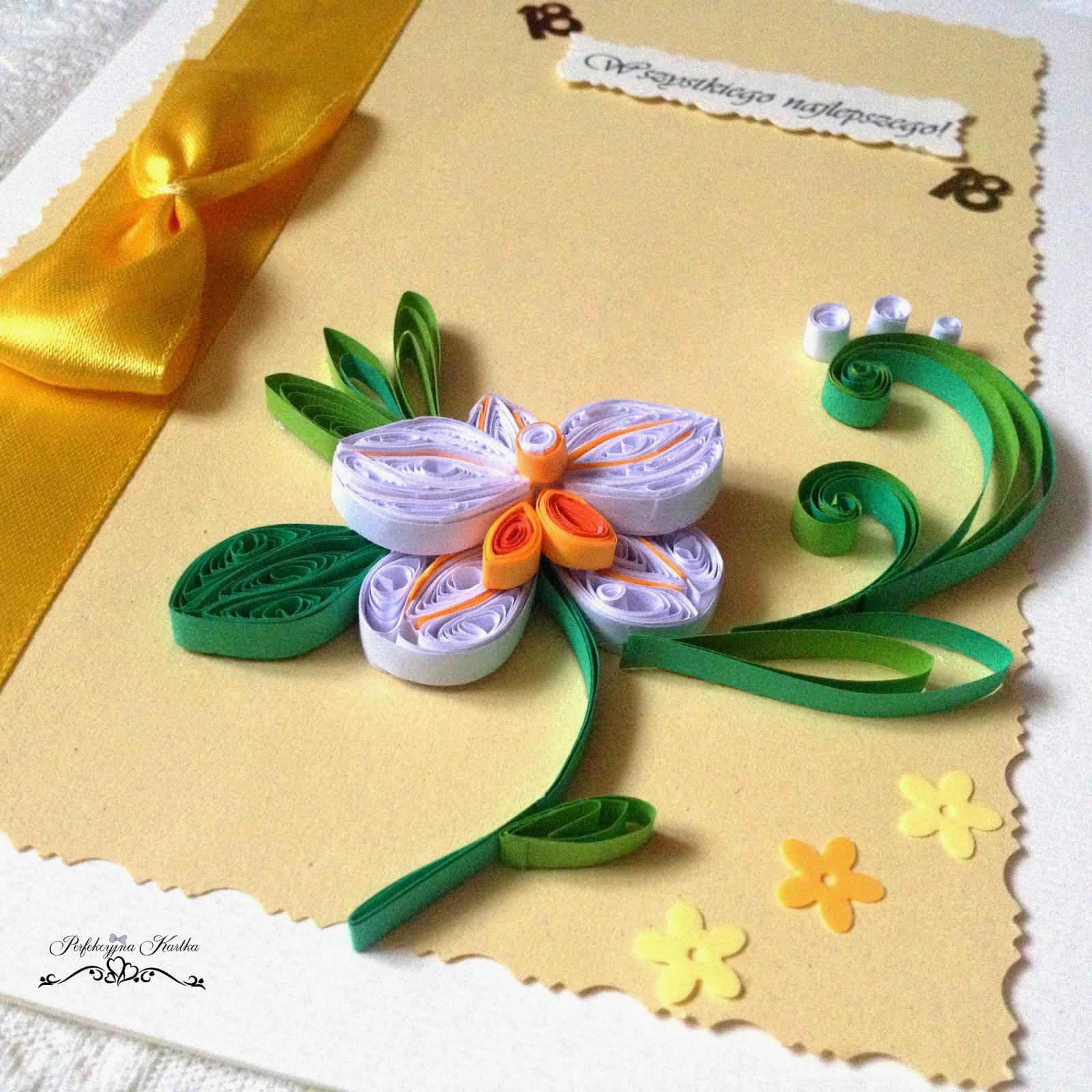 Kartka z orchideą - wiosenne kolory :)