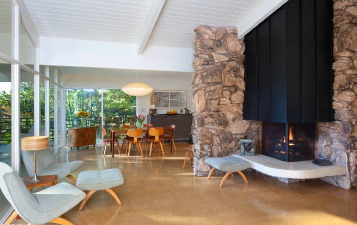 Modern homes los angeles lower bel air edward h fickett - Mid century modern wood stove ...