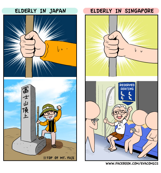 Elderly in Japan and Singapore