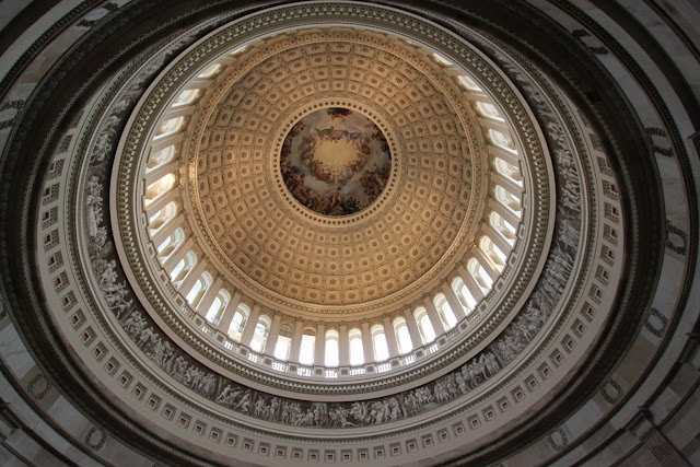 Beautiful large ceiling dome at Capitol Rotunda on the second floor of the United States Capitol in Washington DC, USA