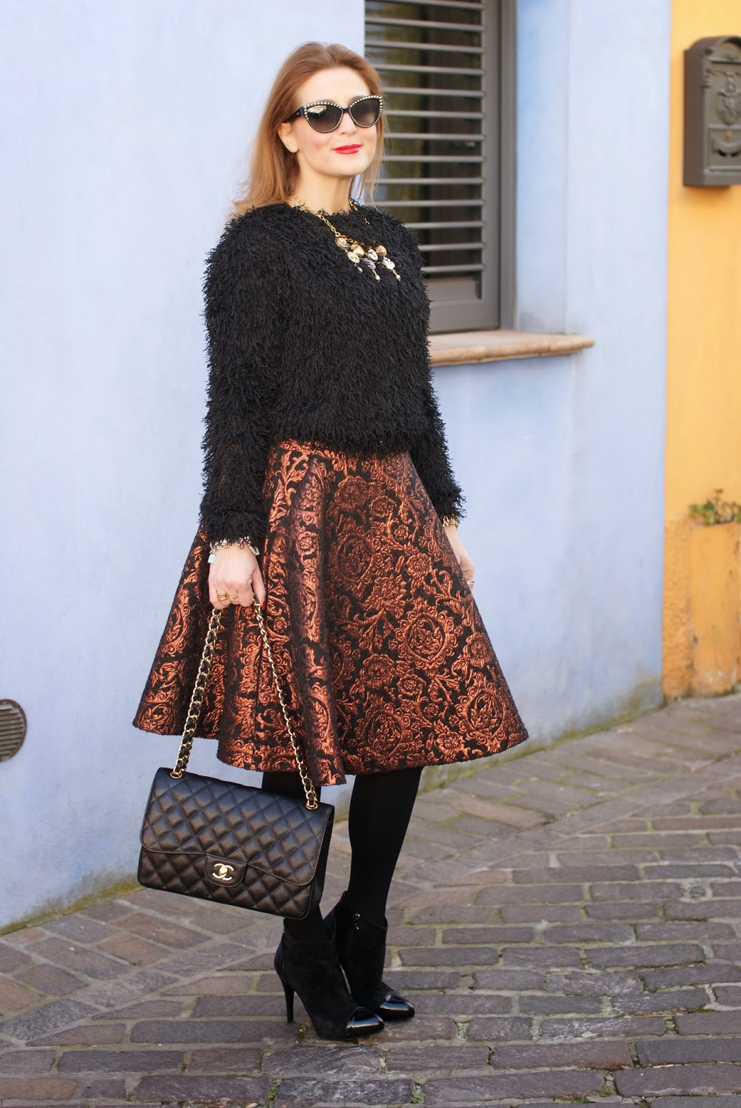 Fuzzy sweater, Chanel classic flap bag in caviar leather, fluffy sweater, Fashion and Cookies, fashion blogger