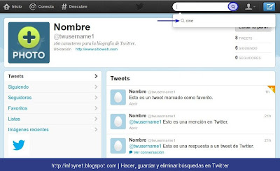 Ver búsquedas de Twitter guardadas