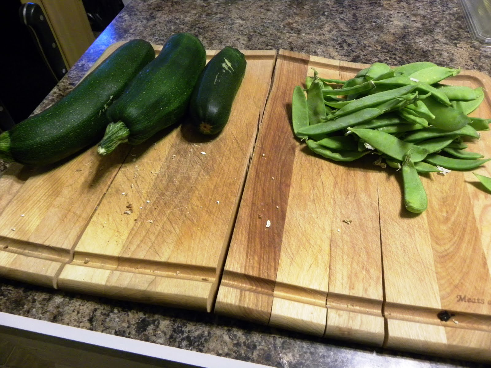 This past weekend, when I set about to freeze some zucchini & snow peas, I started cleaning ends and such off of what I had and Nick checked the garden for ...