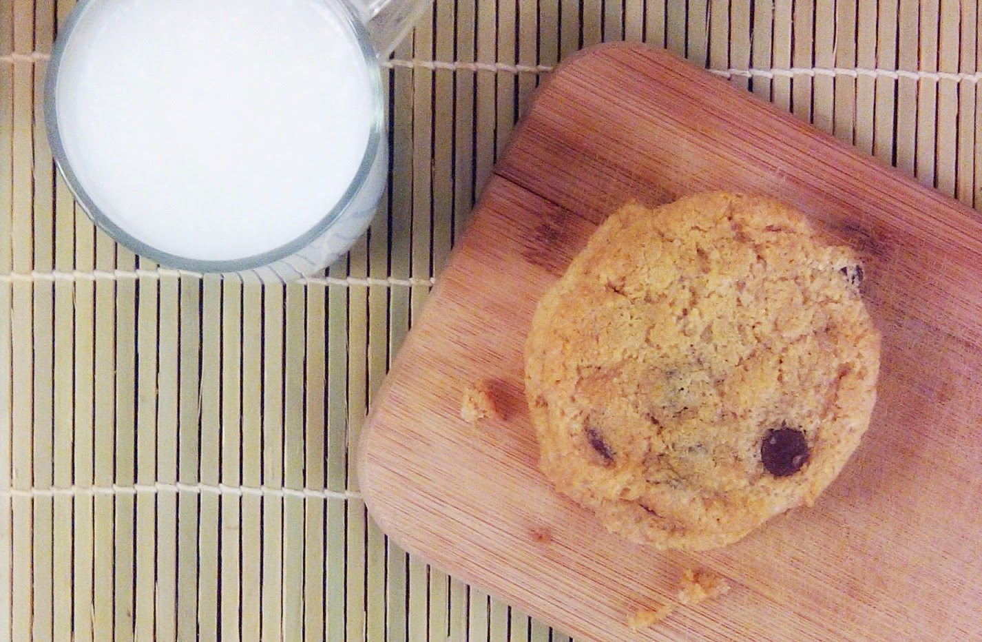 Chewy Chocolate Chip Cookie with a glass of coconut milk
