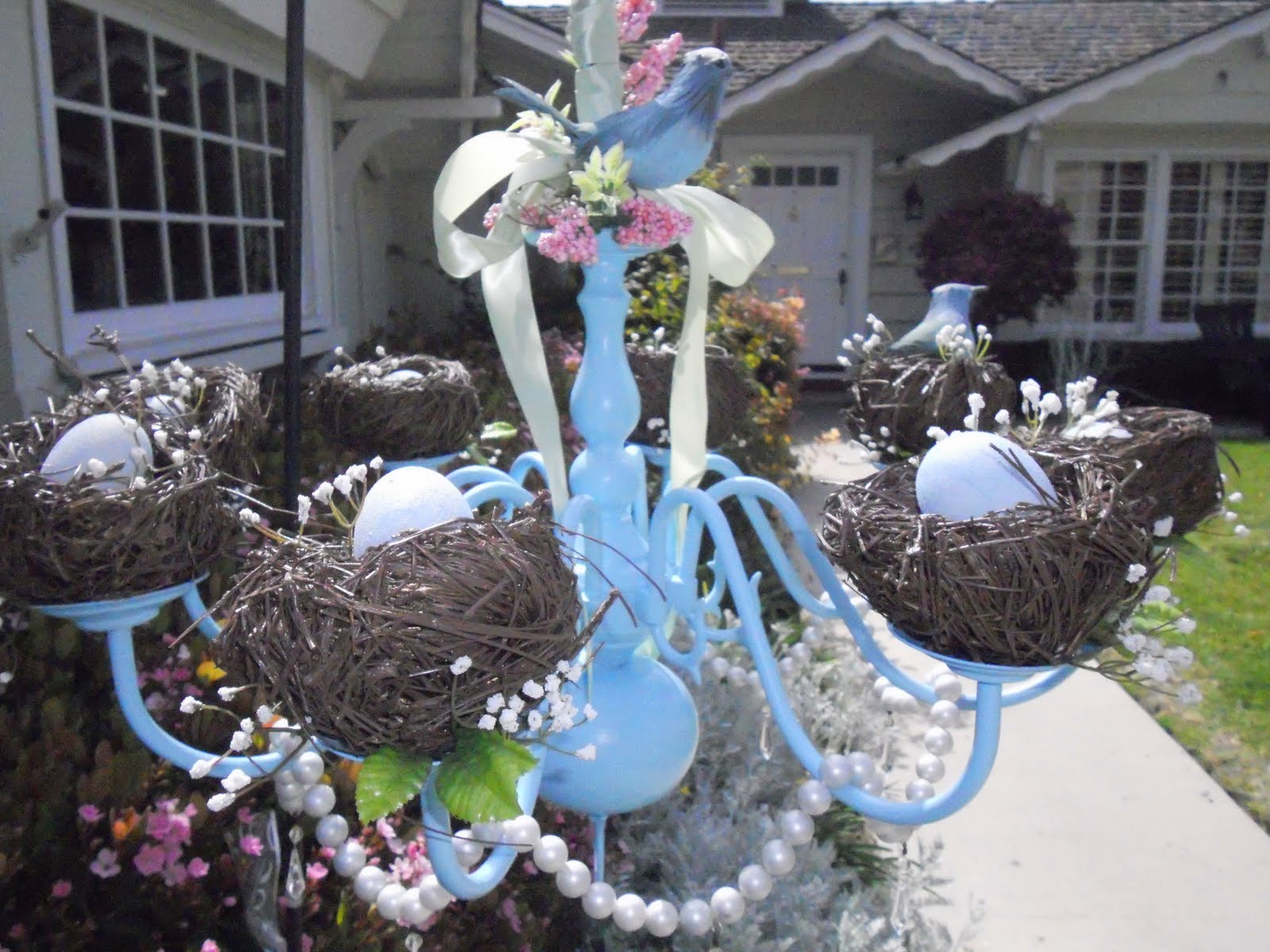 Spring chandelier the v spot for Outdoor easter decorations for the home