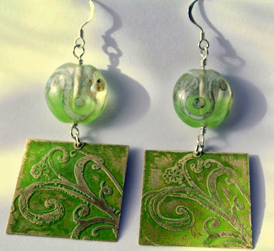 Terpsichore (the Muse of Dance): etched Vintaj brass, patina, lampwork glass, sterling silver findings, OOAK earrings :: All Pretty Things