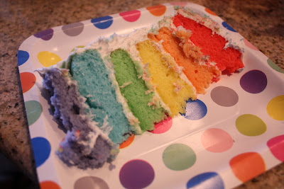 slice of six layer rainbow cake