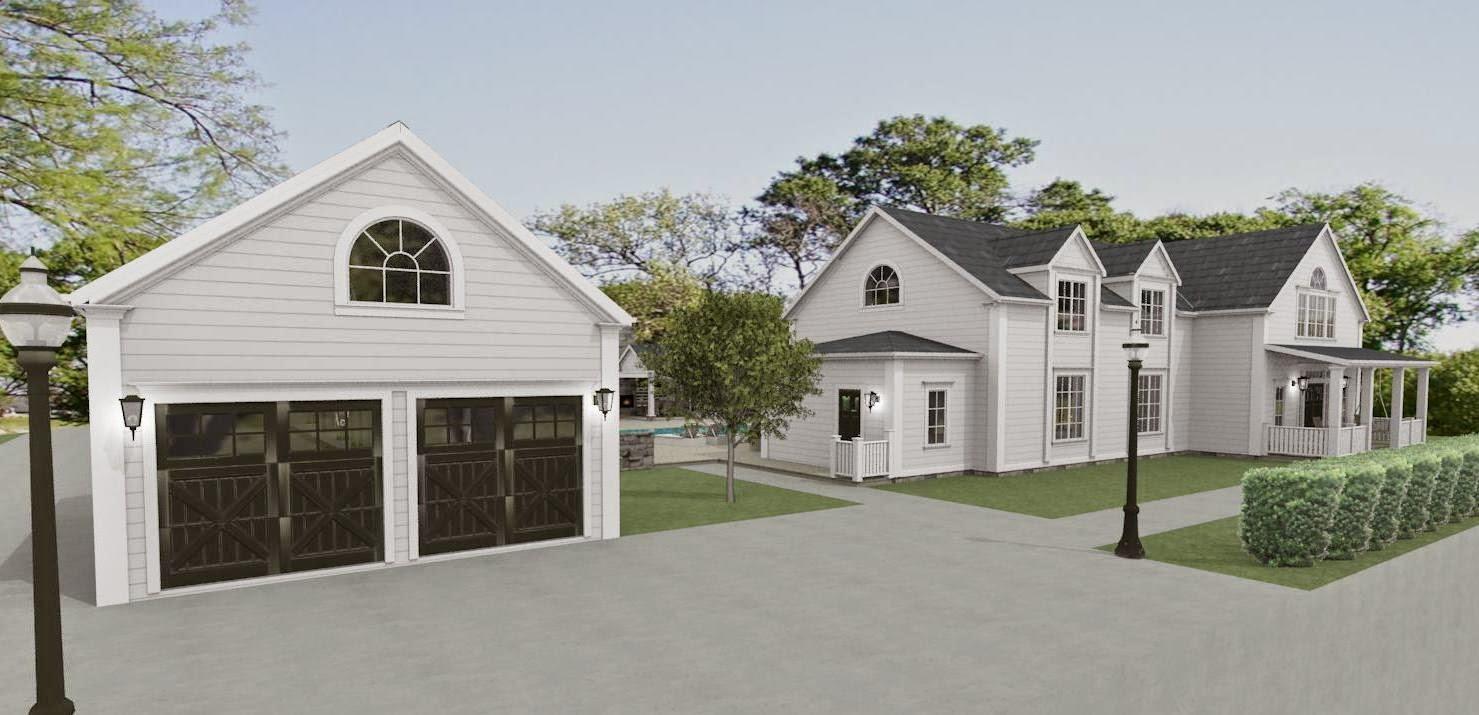 Den vita drömgården: 1,5 plans new england hus ritat för kund