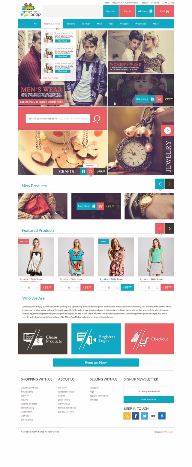 Gift Shop E-Commerce Website PSD Template