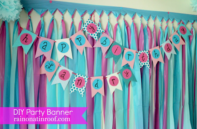 DIY Birthday Banner Tutorial {rainonatinroof.com} #DIY #birthday #party #banner #tutorial #partybanner