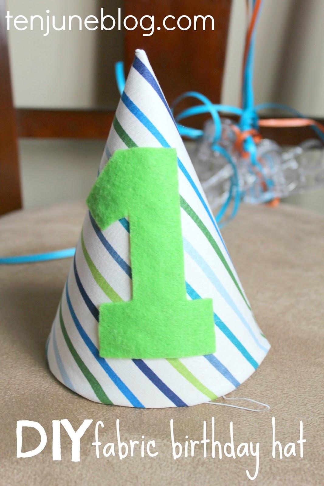 ten june diy fabric 3 birthday hat tutorial