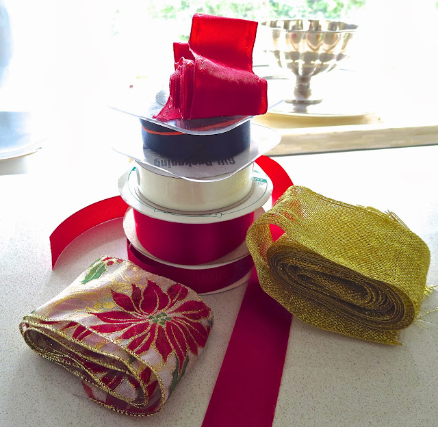 Red, green and white holiday ribbon