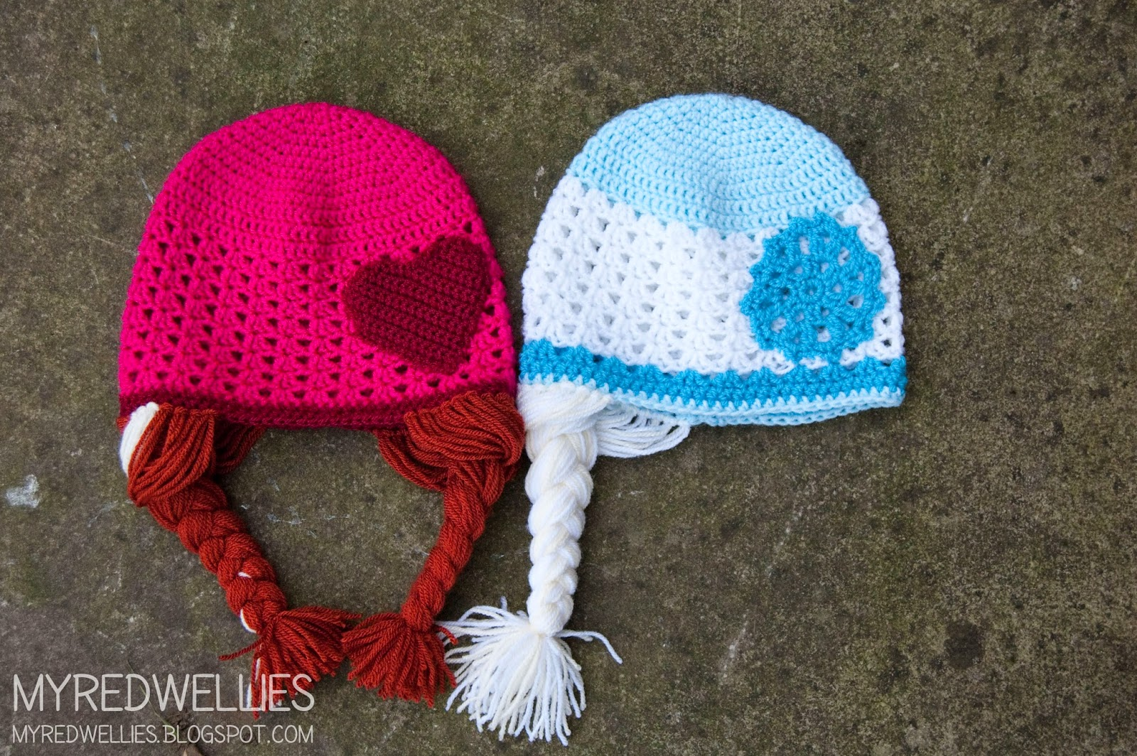 Crochet Hat Patterns Elsa : My Red Wellies: Anna & Elsa crochet hats - A free Crochet ...