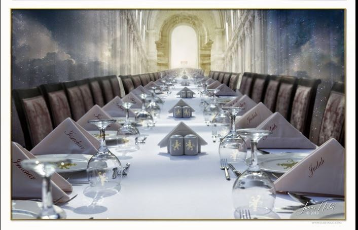 Image result for prophetic  art banqueting table of Jesus