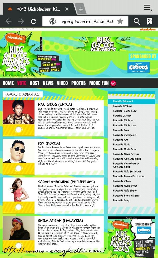 Shila Amzah Lawan PSY : Favourite Asian Act - 2013 Nickelodeon Kids' Choice Awards