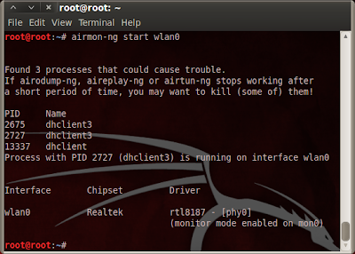 Airmon-ng setting wlan0 to monitor mode.