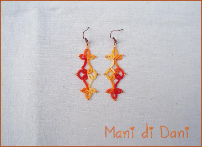 Orecchini pendenti in pizzo chiacchierino arancio sfumato e monachella