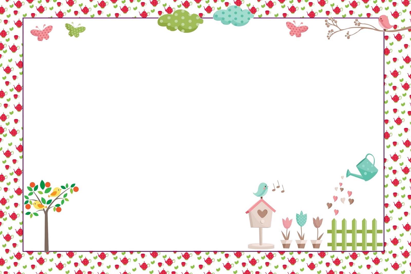 imagens jardim de rosas:Jardim de Flores Rosa e Azul – Kit Completo com molduras para convites