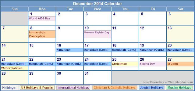 December Calendar 2014 : December calendar printable with holidays