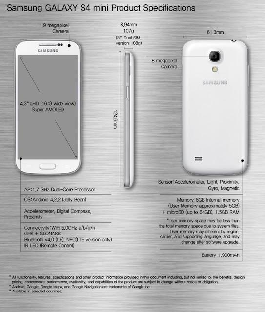 Esquema completo con todos los datos sobre el próximo Android de Samsung, el Samsung Galaxy S4 Mini