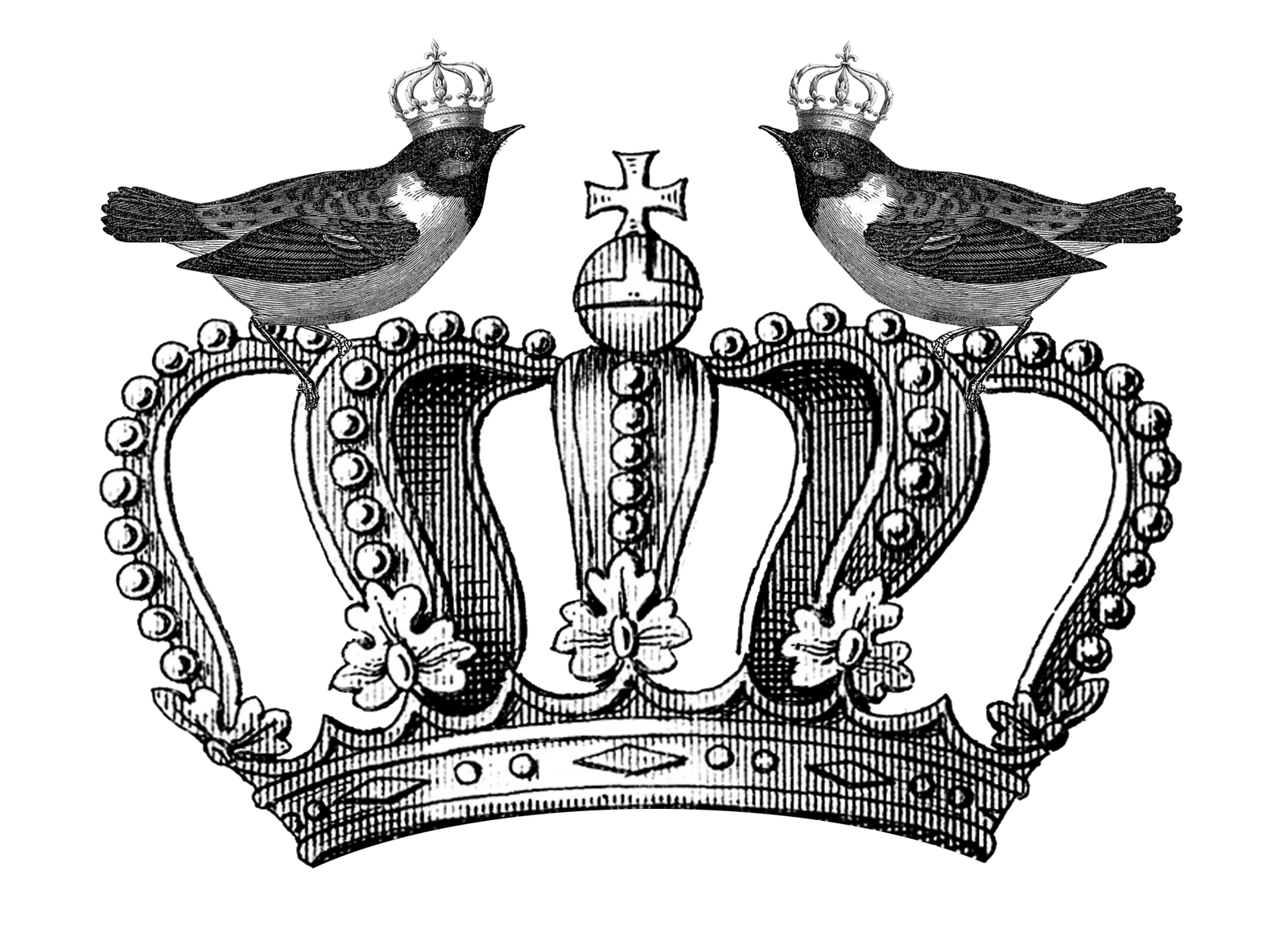 Free Royal Crown and Birds Printable Happy Thankful Thursday Part 2Queen Crown Drawing Black And White