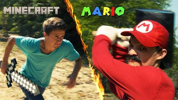 vídeo mario vs minecraft