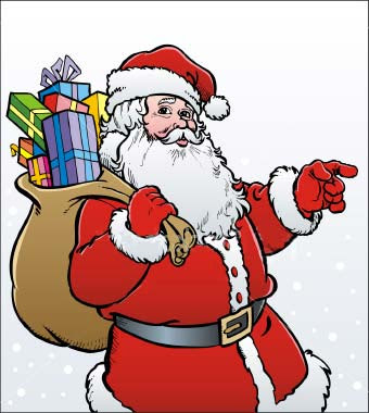 Picture of Santa Clause with Merry Christmas Gifts for Kids