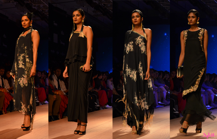 Nikasha showcases her latest winter festive collection with fringe in an achromatic palette of black and white over kimono's, gowns and sarees at Lakme Fashion Week held at St. Regis, Mumbai