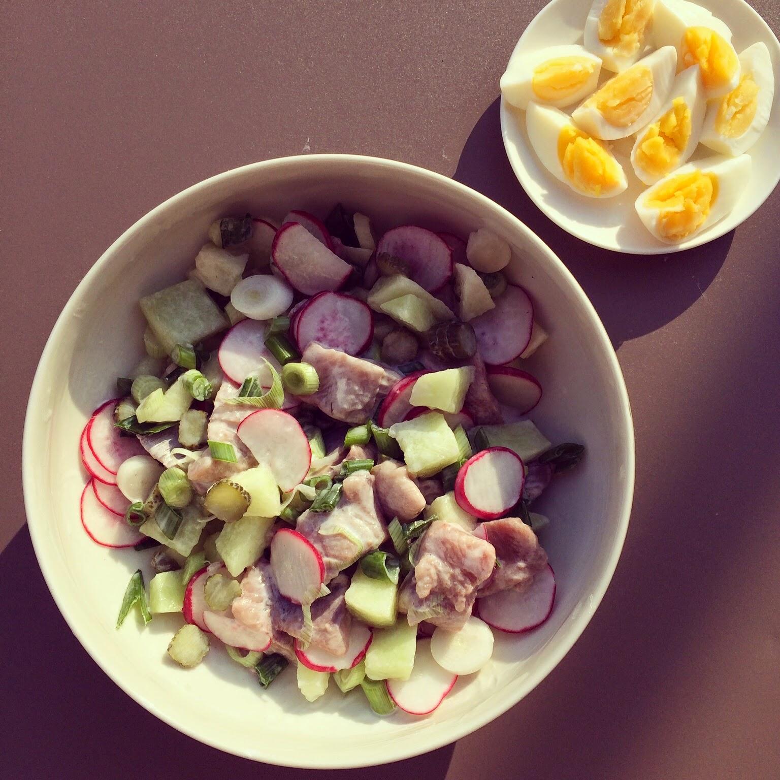 salade harengs marinés melon radis oeufs